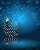 Bolas de navidad estilizada sobre fondo floral decorativo — Vector de stock
