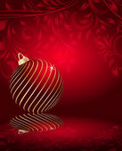 Stylized Christmas balls on decorative floral background — Vettoriale Stock