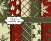 Set of vector Christmas paper for scrapbook — Stock Vector