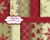 Set of vector Christmas paper for scrapbook — 图库矢量图片