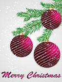 Vector Christmas ball decorative card — Vector de stock