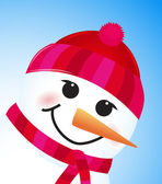 Vector cute winter snowman on blue background — Stock Vector