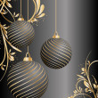 Stylized vector Christmas ball on decorative background — Imagen vectorial