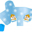 Stylized Christmas box with Snowman blank template — Stock Vector #13404402