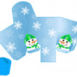 Stylized Christmas box with Snowman blank template — Stock Vector #13404460