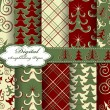 Set of vector Christmas tree paper for scrapbook — Imagens vectoriais em stock