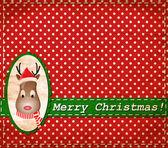 Vector Santa Claus Deer vintage Christmas card — Stock Vector