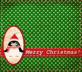 Vector Santa Claus penguin vintage Christmas card — Stock Vector