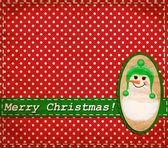 Vector Snowman vintage Christmas card — Stock Vector