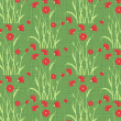 Vector poppy flower pattern background — Stock Vector