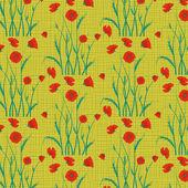 Vector poppy flower pattern background — Stock Vector