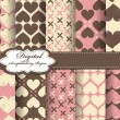 Set of vector flower pattern paper for scrapbook - Imagen vectorial
