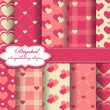 Set of vector heart Valentines day pattern paper for scrapbook — Stock Vector