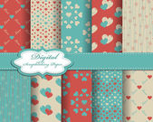 Set of vector heart Valentines day pattern paper for scrapbook — Vector de stock