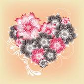 Vector heart flower background — Vetor de Stock