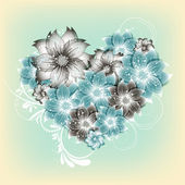 Vector heart flower background — Stok Vektör