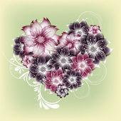 Vektor Herz Blumen Hintergrund — Stockvektor