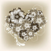 Vector heart flower background — Vettoriale Stock