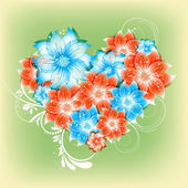 Vector heart flower background — Stockvector