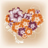 Vector heart flower background — 图库矢量图片