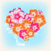 Vector heart flower background — Stock Vector