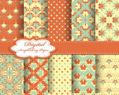 Set of vector pattern paper for scrapbook — ストックベクタ