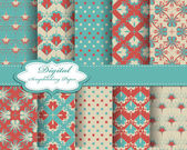 Set of vector pattern paper for scrapbook — Vettoriale Stock