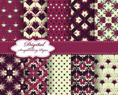 Set of vector pattern paper for scrapbook — Cтоковый вектор