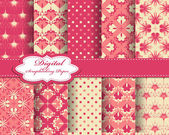 Set of vector pattern paper for scrapbook — Stock vektor
