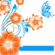 Abstract vector flower background with butterfly - Stock Vector
