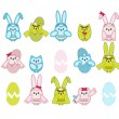 Set of vector cute Easter owls on white background — ベクター素材ストック