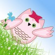 Vector Easter owl rabbit sunny spring green field and blue sky — Vector de stock