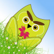 Vector Easter owl rabbit sunny spring green field and blue sky — Vector de stock #21910731