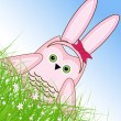Vector Easter owl rabbit sunny spring green field and blue sky — Vector de stock #21910735