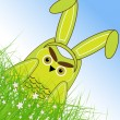 Vector Easter owl rabbit sunny spring green field and blue sky — ベクター素材ストック