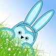Vector Easter owl rabbit sunny spring green field and blue sky — Vector de stock #21910781