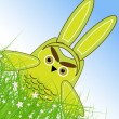 Vector Easter owl rabbit sunny spring green field and blue sky — Stock Vector
