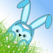 Vector Easter owl rabbit sunny spring green field and blue sky — Vector de stock #21910813