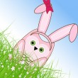 Vector Easter owl rabbit sunny spring green field and blue sky — Vector de stock #21910831