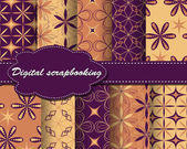 Set of vector flower paper for scrapbook — 图库矢量图片