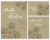 组的婚礼或邀请卡。抽象矢量花卉行话 — 图库矢量图片