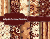 Set of vector flower pattern paper for scrapbook — Stock Vector