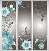 Vektor blommig dekorativa banner. abstrakt bakgrund med fjäril — Stockvektor