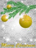 Bola de navidad decorar ilustración tarjeta vector — Vector de stock