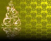 Vector stylized golden Christmas tree — Stock Vector