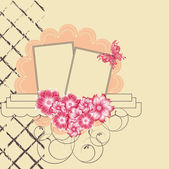 Floral scrapbook card with butterfly — Vecteur