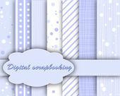 Set of vector blue paper for scrapbook — Stock Vector