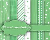 Set of vector green paper for scrapbook — Stock Vector