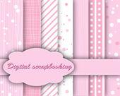 Set of vector pink paper for scrapbook — Stock Vector