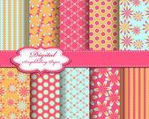 Flower pattern paper for scrapbook — Stock Vector